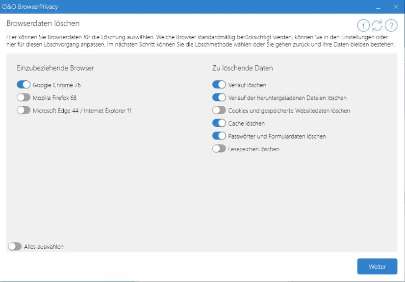 Screenshot 1 - O&O BrowserPrivacy