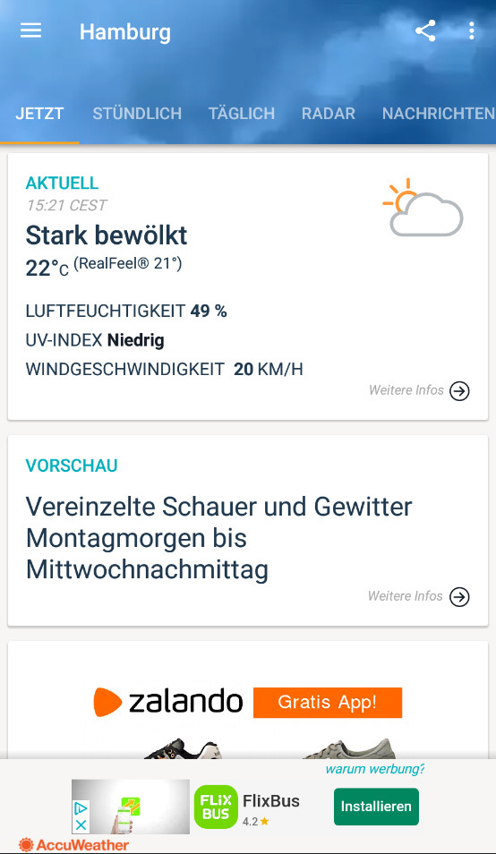 Screenshot 1 - AccuWeather (Android-App)