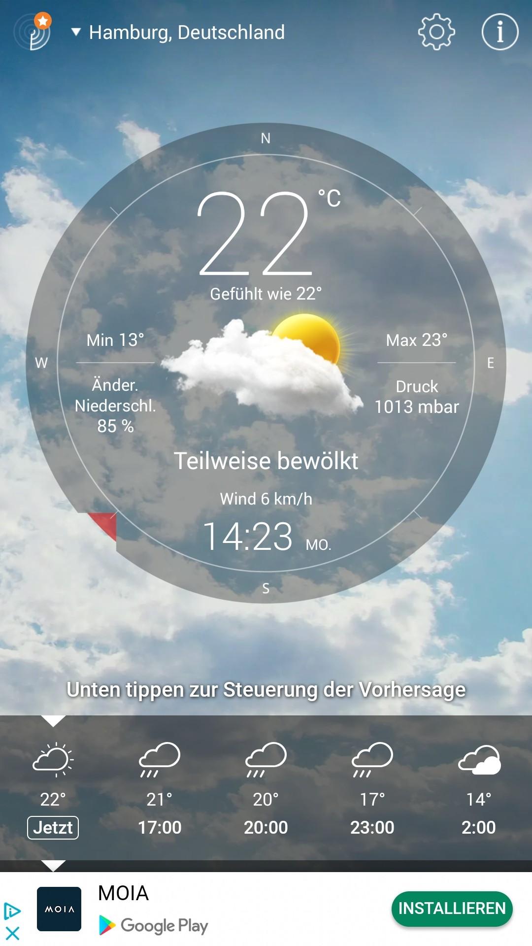 Screenshot 1 - Wetter Live (App für iPhone & iPad)
