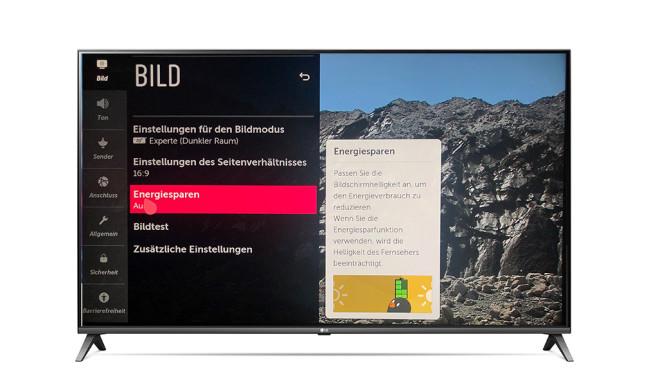 """LG 55UM7510: Der günstige Fernseher spricht mit Alexa Im Bildmodus """"ISF Dunkler Raum"""" sind die Farben ab Werk sehr gut eingestellt, """"Energiesparen Aus"""" hilft gegen zu dunkle Bilder bei vernachlässigbarem Mehrverbrauch.©LG Electronics, COMPUTER BILD"""