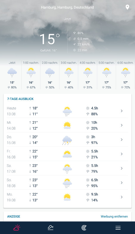 Screenshot 1 - WeatherPro (Android-App)