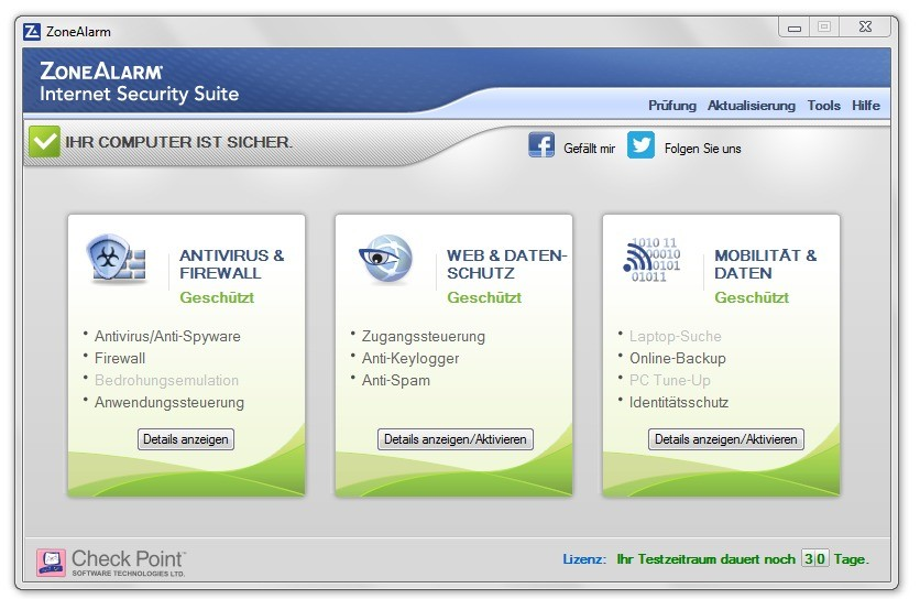 Screenshot 1 - ZoneAlarm Internet Security Suite