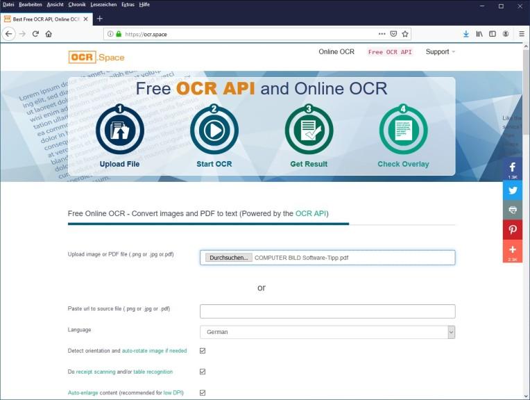 Screenshot 1 - OCR.Space: Texterkennung kostenlos