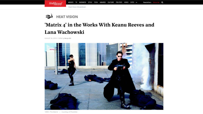 Matrix: Neo und Trinity©hollywoodreporter.com