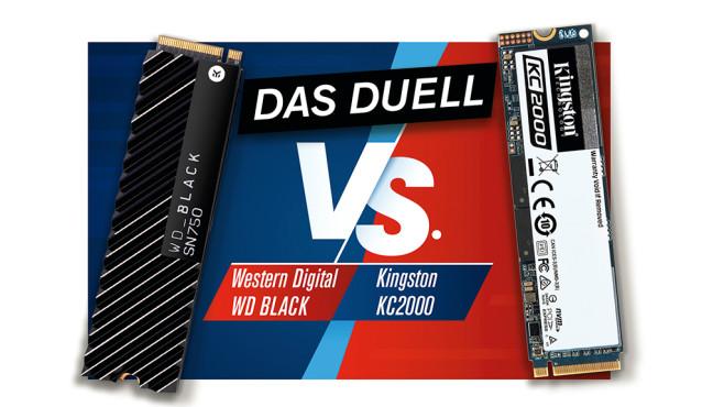 SSD-Duell: WD Black SN750 NVMe gegen Kingston KC2000©COMPUTER BILD, Kingston, WD