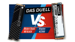 SSD-Duell: WD Black SN750 NVMe gegen Kingston KC2000 © COMPUTER BILD, Kingston, WD