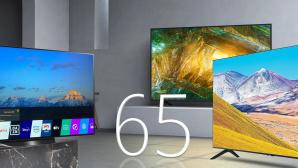 65 Zoll Fernseher im Test: Darf es etwas mehr sein? 65-Zoll-Fernseher im Test: Mit einer Bildschirmdiagonale von 164 Zentimetern sind die TV-Riesen perfekt für drei bis fünf Meter Betrachtungsabstand.©Sony, LG, Samsung, COMPUTER BILD