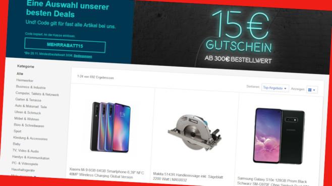 Rabattaktion bei Ebay©PR/Screenshot www.www.ebay.de/e/aktionen-sales/mehrrabatt-15-euro/