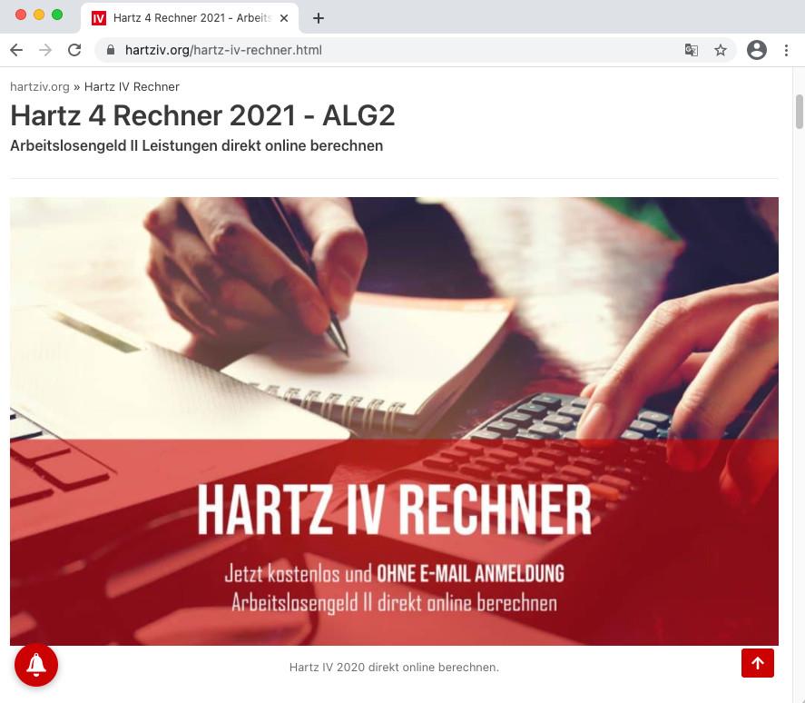 Screenshot 1 - Hartz 4 Rechner 2021