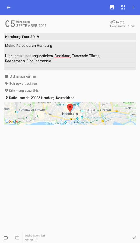 Screenshot 1 - Diaro (Android-App)