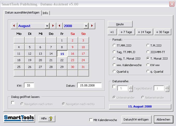 Screenshot 1 - SmartTools Datumsassistent für Excel