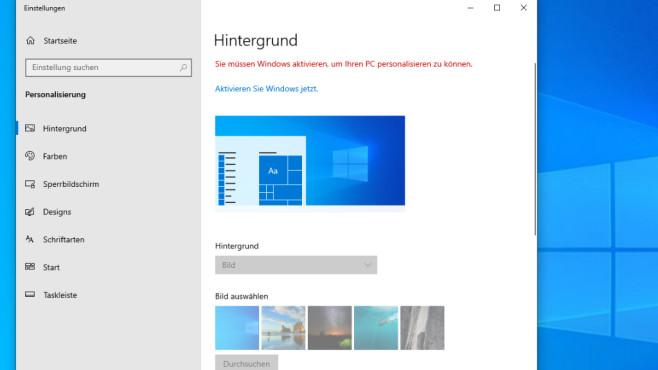 Windows 10: Nicht aktiviert – Hintergrund ändern©COMPUTER BILD