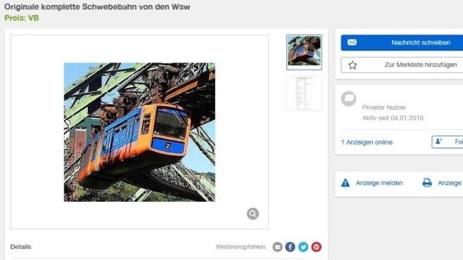 Ebay-Kleinanzeigen-Annonce: Wuppertaler Schwebebahn©Ebay