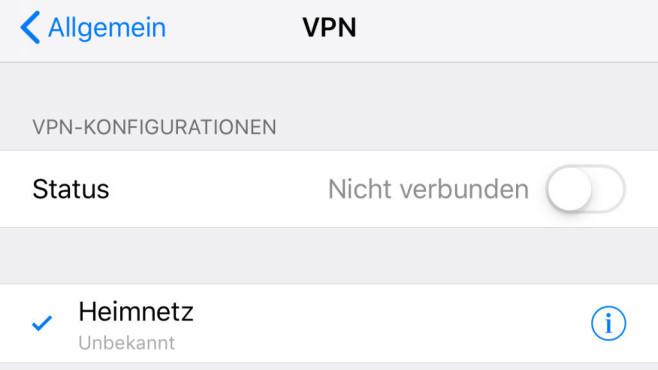 iPhone VPN einrichten: Einschalten©COMPUTER BILD