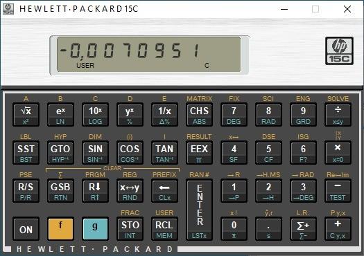 Screenshot 1 - HP-15C Simulator