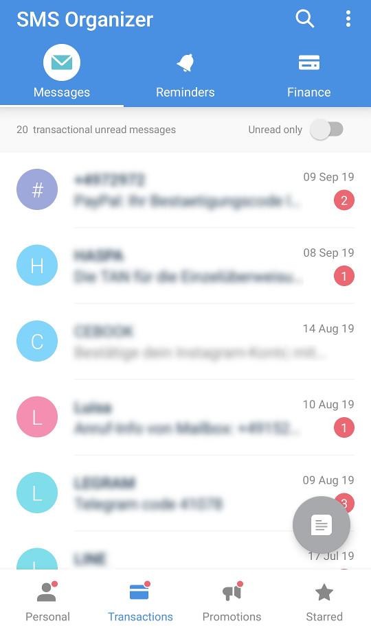 Screenshot 1 - SMS Organizer (APK)