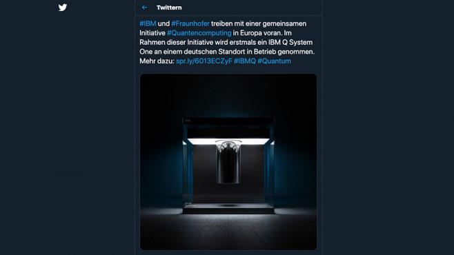Twitter Post IBM Quantencomputer©Screenshot: Twitter/IBM