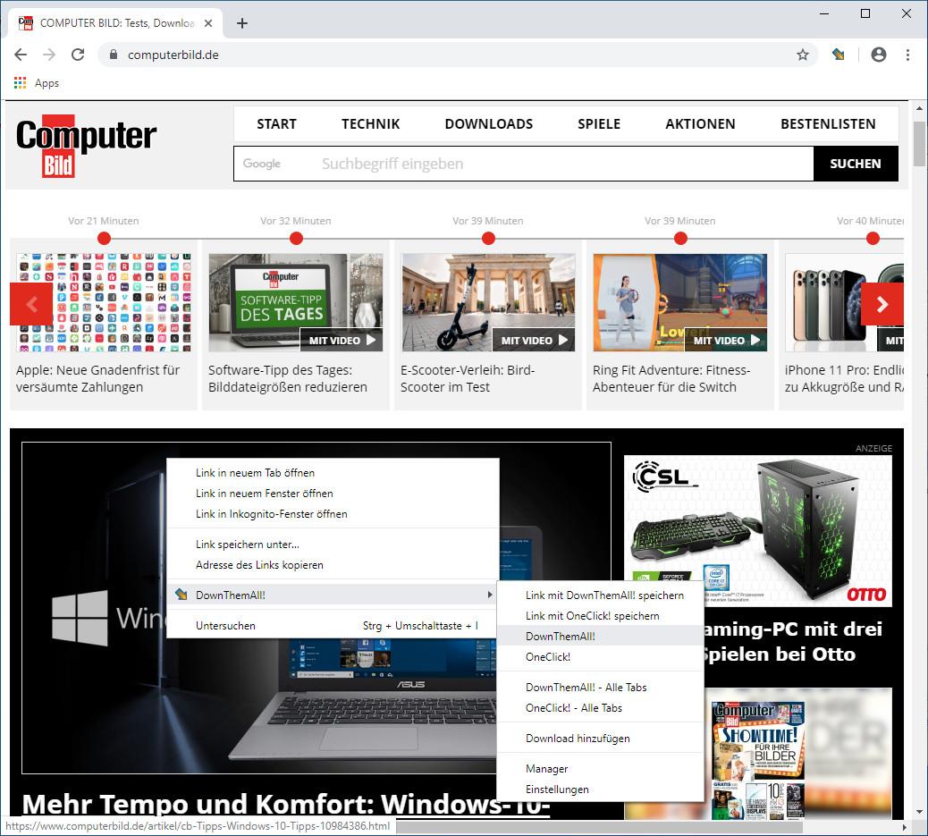 Screenshot 1 - DownThemAll für Chrome