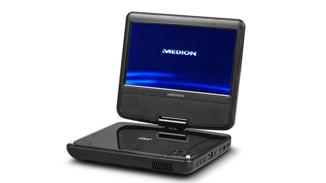 Medion E72054: Der DVD-Player von Aldi im Überblick Der Bildschirm vom Medion E72054 hat eine Diagonale von knapp 18 Zentimetern – wie ein kleines 7-Zoll-Tablet.©Medion