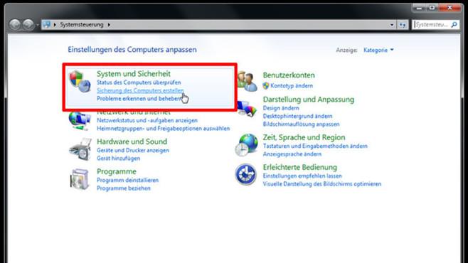 Windows-7-Backup: Dateien wiederherstellen – Backup-Programm starten©COMPUTER BILD