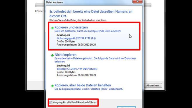 Windows-7-Backup: Dateien wiederherstellen – Dateikonflikt©COMPUTER BILD