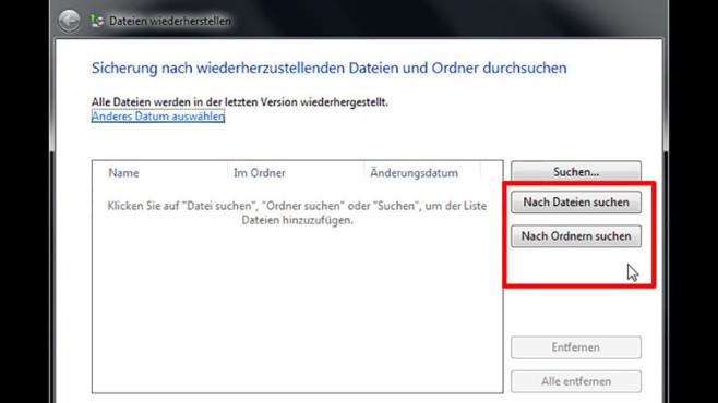 Windows-7-Backup: Dateien wiederherstellen – Daten suchen©COMPUTER BILD