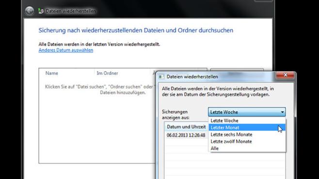 Windows-7-Backup: Dateien wiederherstellen – Sicherung auswählen©COMPUTER BILD