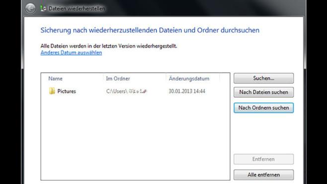 Windows-7-Backup: Dateien wiederherstellen – Weitere Daten auswählen©COMPUTER BILD