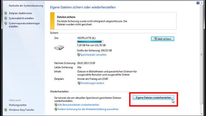 Windows-7-Backup: Dateien wiederherstellen – Wiederherstellungsfunktion starten©COMPUTER BILD