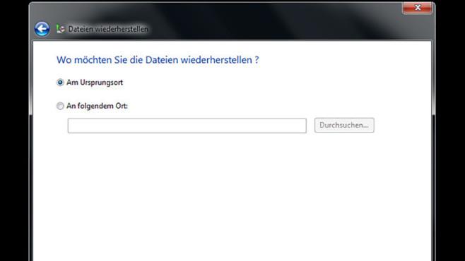 Windows-7-Backup: Dateien wiederherstellen – Zielordner festlegen©COMPUTER BILD