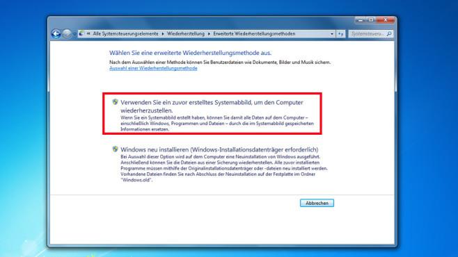 Windows-7-Backup: Image zurückspielen – Erweiterte Wiederherstellungsmethoden©COMPUTER BILD