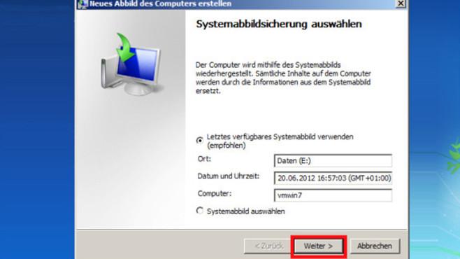 Windows-7-Backup: Image zurückspielen – Image zurückspielen©COMPUTER BILD