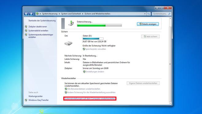Windows-7-Backup: Image zurückspielen – Systemeinstellungen wiederherstellen©COMPUTER BILD