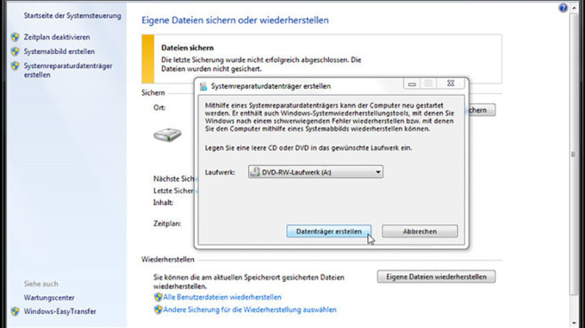 Windows-7-Backup: Reparaturdatenträger – CD/DVD brennen©COMPUTER BILD