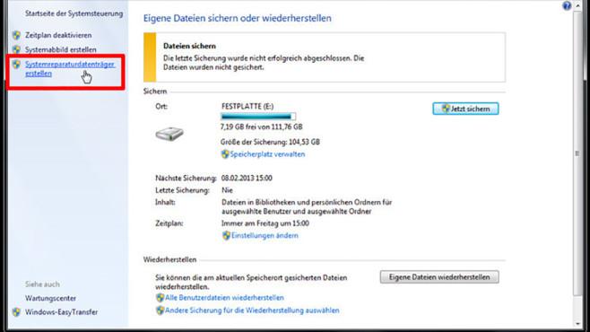 Windows-7-Backup: Reparaturdatenträger – Systemreparaturdatenträger erstellen©COMPUTER BILD