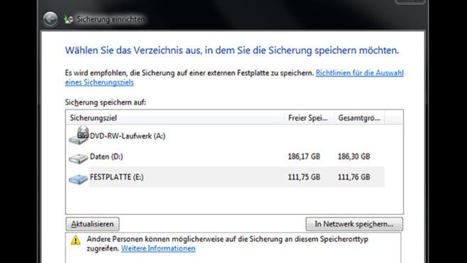 Windows-7-Backup: Schnellsicherung – Backup-Laufwerk auswählen©COMPUTER BILD