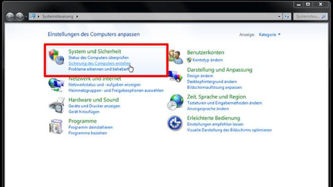 Windows-7-Backup: Schnellsicherung – Backup-Programm starten©COMPUTER BILD
