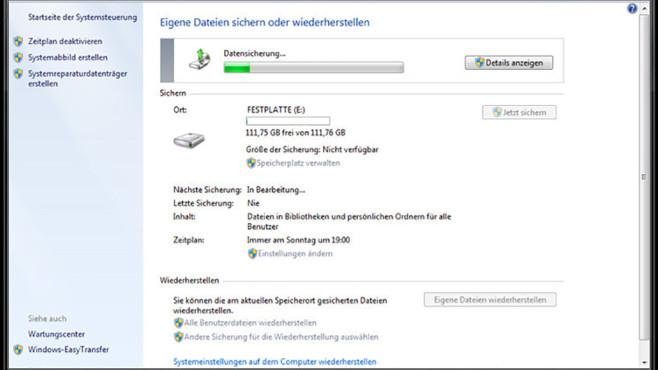 Windows-7-Backup: Schnellsicherung – Daten sichern©COMPUTER BILD