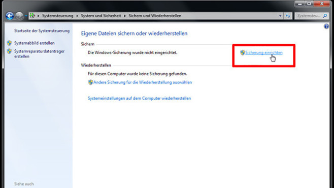 Windows-7-Backup: Schnellsicherung – Sicherung einrichten©COMPUTER BILD