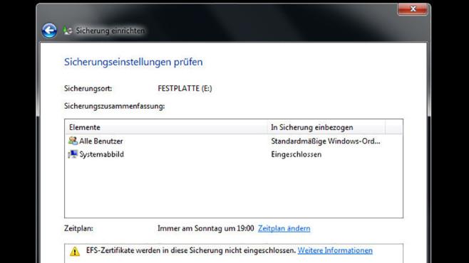 Windows-7-Backup: Schnellsicherung – Sicherungseinstellungenprüfen©COMPUTER BILD
