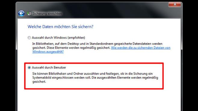 Windows-7-Backup: Sicherungsplan – Auswahl durch den Benutzer©COMPUTER BILD