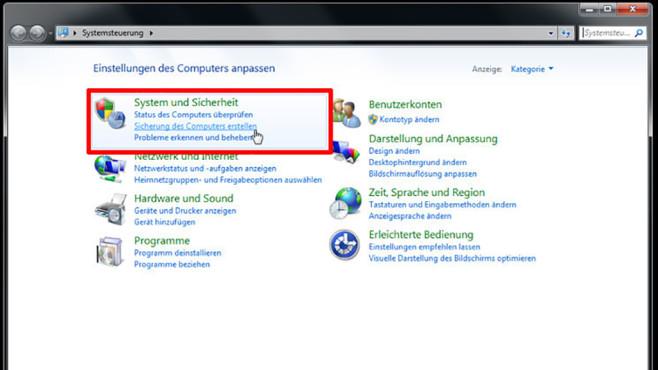 Windows-7-Backup: Sicherungsplan – Backup-Programm starten©COMPUTER BILD