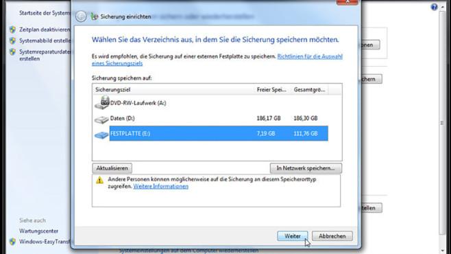 Windows-7-Backup: Sicherungsplan – Laufwerk bestätigen©COMPUTER BILD