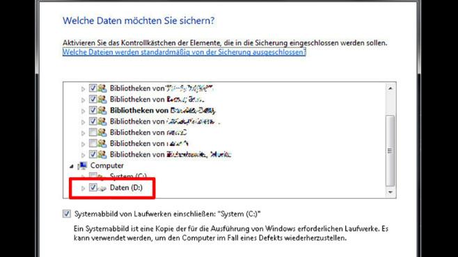 Windows-7-Backup: Sicherungsplan – Ordner auswählen©COMPUTER BILD