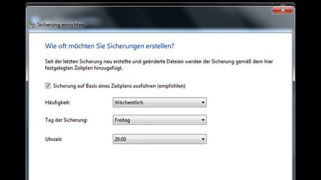 Windows-7-Backup: Sicherungsplan – Termin festlegen©COMPUTER BILD