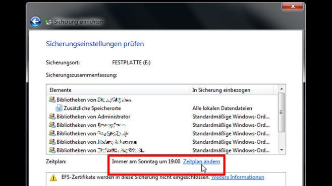 Windows-7-Backup: Sicherungsplan – Zeitplan ändern©COMPUTER BILD
