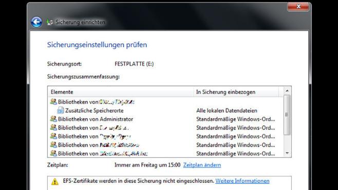 Windows-7-Backup: Sicherungsplan – Änderungen abschließen©COMPUTER BILD