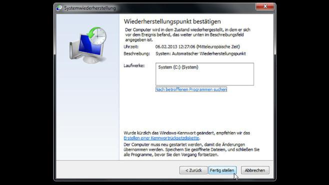 Windows-7-Backup: Windows zurücksetzen – System wiederherstellen©COMPUTER BILD