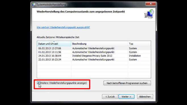 Windows-7-Backup: Windows zurücksetzen – Weitere Wiederherstellungspunkte©COMPUTER BILD