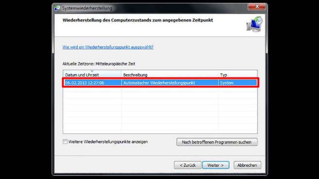 Windows-7-Backup: Windows zurücksetzen – Wiederherstellungspunkt auswählen©COMPUTER BILD